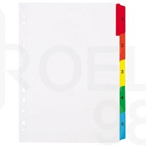 Разделител Noki, 1-5, картонен,  с пластмасов цветен индекс
