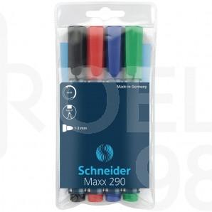 Комплект маркери за бяла дъска и флипчарт Schneider 290, 4 цвята