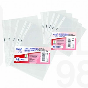 Папка джоб с перфорация Spree, А4, 40 µ, матиран, 100 бр./оп