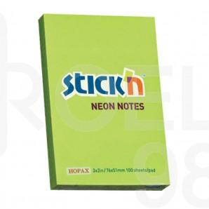 Самозалепващи листчета Stick`N, неон, 76 x 51 мм, цветни
