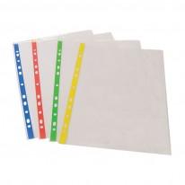 Папка джоб с европерфорация, A4, с цветна усилена лента