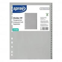 Разделител Spree с европерфорация, PVC, сив, 1-31